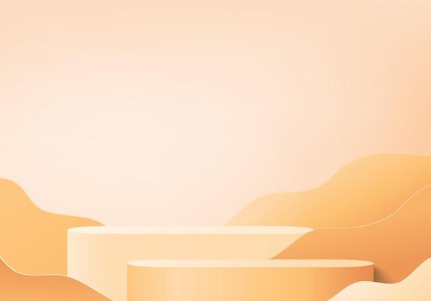 3d оранжевый подиум визуализации фона