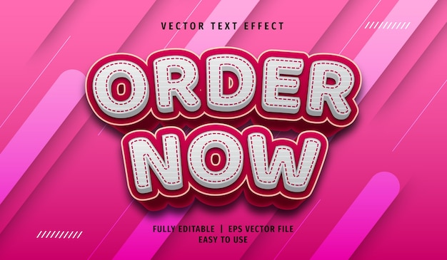 3d order now text effect, editable text style