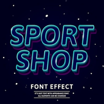 3d outline typeface text effect logo sport shop headline