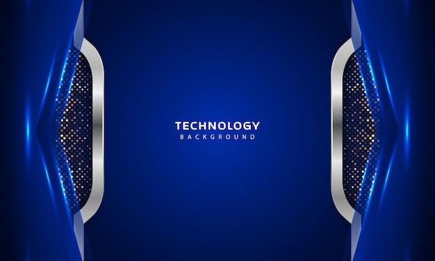 ブルーカラーのライトデコレーションによる3dオーバーラップレイヤー効果