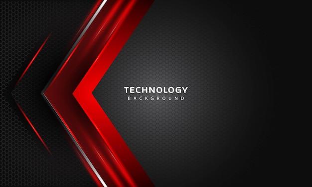 3dオーバーラップレイヤーは、赤色のライト装飾で効果を発揮します。現代の技術デザインテンプレート。 3d背景。ベクトルイラスト。