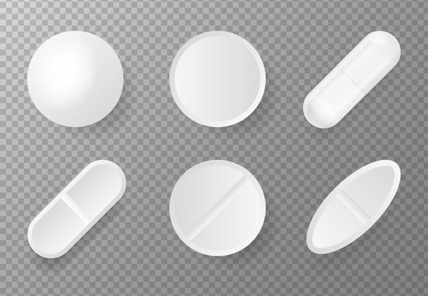 白い背景にピルのモックアップと3dパック分離された3dベクトル白い背景現実的な3d