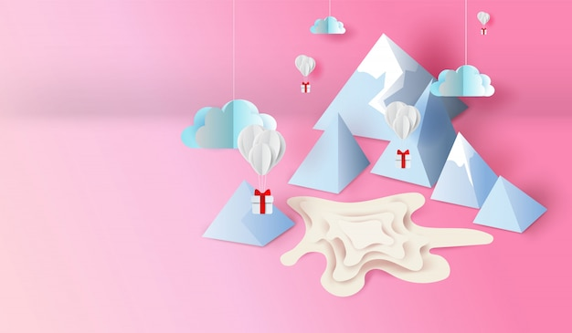 3d paper art and craft design of mountain view scene pond