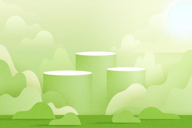 3d 종이 컷 추상 최소한의 기하학적 배경입니다. 자연 풍경 장면에 녹색 실린더 연단