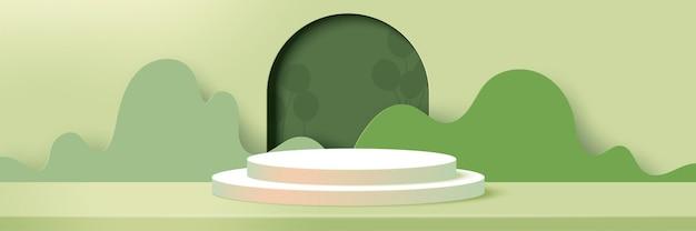 3d 종이는 녹색 자연 풍경에 추상적인 최소한의 기하학적 모양 background.cylinder 연단을 잘라냅니다.