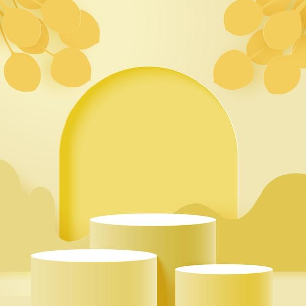 3d 종이는 노란색 색 구성표에서 추상적인 최소한의 기하학적 모양 background.cylinder 연단을 잘라냅니다.