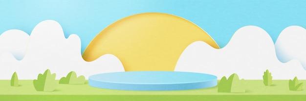 3dペーパーカット抽象的な最小限の幾何学的形状テンプレートの背景。夏の季節の自然の風景シーンの青いシリンダー表彰台。ベクトルイラスト。