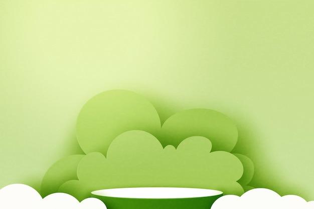 3d 종이 잘라 추상 최소한의 기하학적 모양 템플릿 배경입니다. 녹색 자연 풍경 장면에 녹색 실린더 연단입니다. 벡터 일러스트 레이 션.
