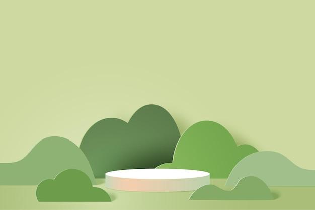 3d 종이 잘라 추상 최소한의 기하학적 모양 템플릿 배경. 녹색 자연 풍경에 흰색 실린더 연단