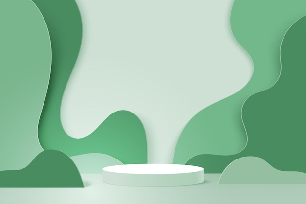 3d 종이 잘라 추상 최소한의 기하학적 모양 템플릿 배경. 녹색 자연 물결 모양 레이어에 흰색 실린더 연단