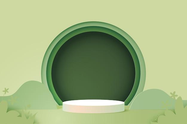 3d 종이 잘라 추상 최소한의 기하학적 모양 템플릿 배경. 녹색 자연에 흰색 실린더 연단