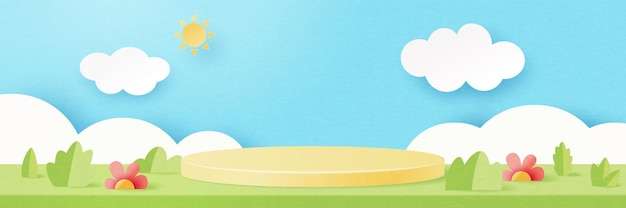 3d 종이 잘라 추상 최소한의 기하학적 모양 템플릿 배경입니다. 여름 시즌 자연 풍경 장면에 노란색 실린더 연단입니다. 벡터 일러스트 레이 션.