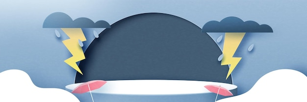 3d paper cut abstract rainy season concept background.cylinder podium of rainy day, overcast sky, thunder and lightning.vector illustration.