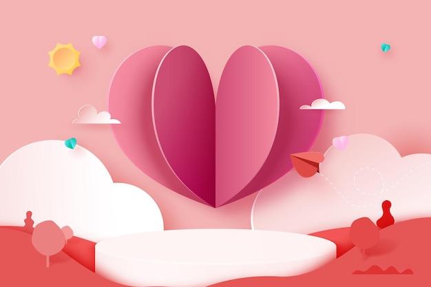 3dペーパーカット抽象的なテンプレートの背景。ピンクと赤の自然の風景の幾何学的形状に愛と心。ベクトルイラスト。