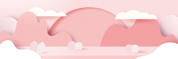 3d paper cut abstract valentine's day  background.love and heart on geome of pink nature landscape.