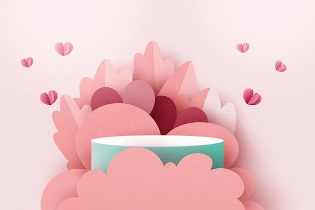 3d紙カット抽象的なバレンタインデーテンプレートの背景。ピンクのコンセプトセールバナーやグリーティングカードの幾何学的な形に愛と心。ベクトルイラスト。