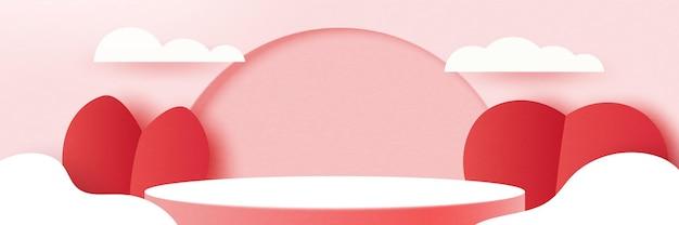 3d紙は抽象的なバレンタインデーのテンプレートの背景をカットします。ピンクの自然の風景の幾何学的形状に愛と心。ベクトルイラスト。
