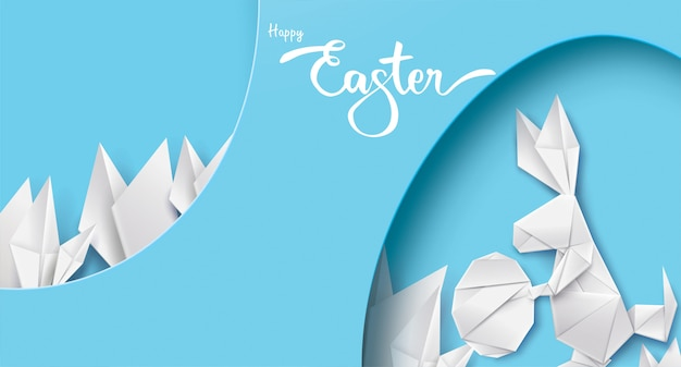 3d paper cut illustration of easter rabbit
