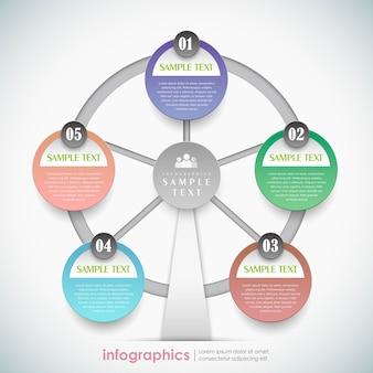 3d бумажное колесо обозрения инфографики