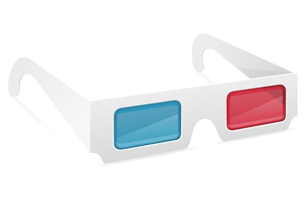 白い背景で隔離の 3 d 紙のメガネ ストック イラスト