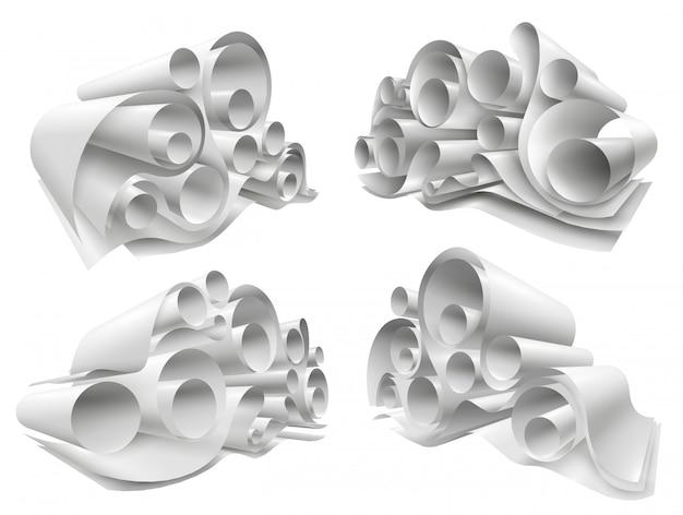 3d paper rolls mockup set