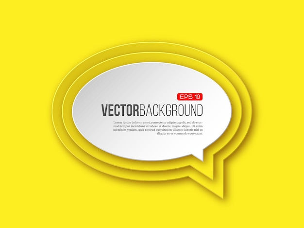 3d paper round speech bubble on yellow with layered effect with shadow