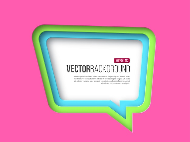 3d paper speech bubble in pink, green and blue colors with layered effect with shadow.