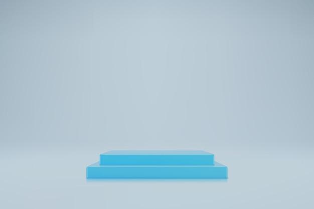 明るい背景に3dパステルブルーの立方体の表彰台