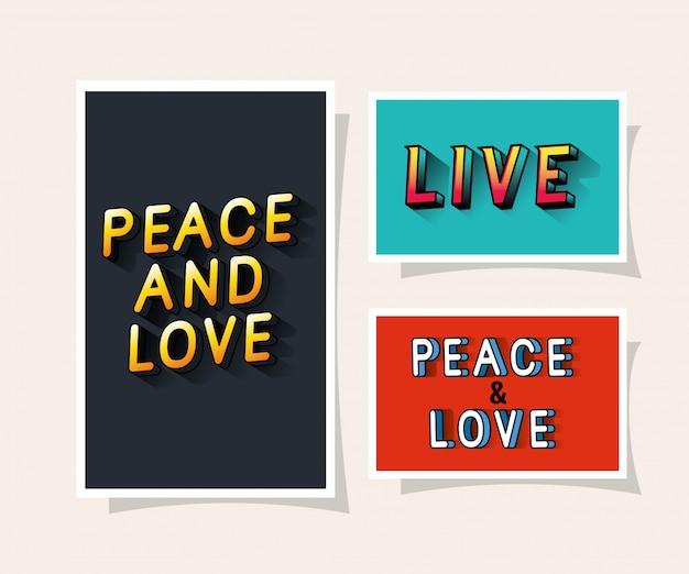 회색 파란색과 빨간색 배경에 3d 평화와 사랑과 라이브 레터링