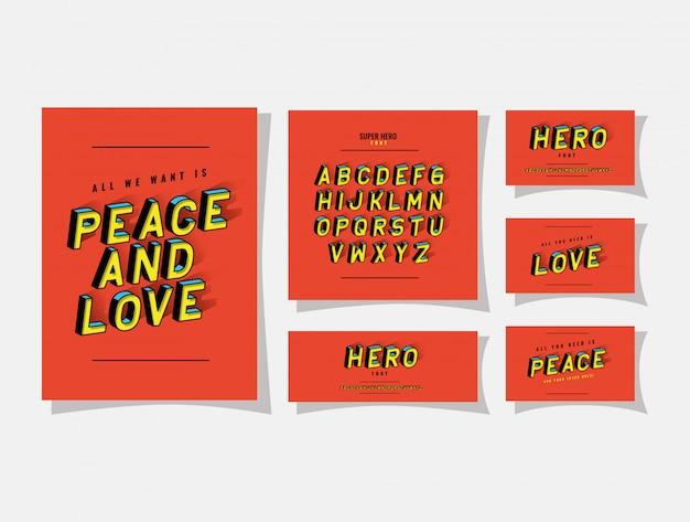 빨간색 배경에 3d 평화와 사랑의 글자와 알파벳