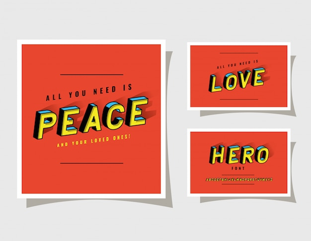 3d peace love and hero lettering on red backgrounds