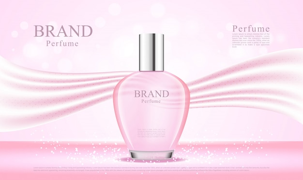 3d perfume bottle with pink silk backgroud