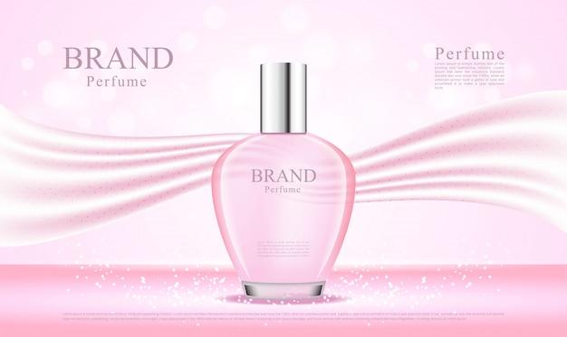 ピンクのシルクの背景が付いた3d香水瓶
