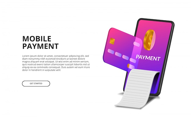 3d perspective mobile payment concept with illustration of credit card, golden coin, and bill.