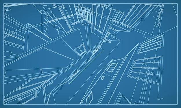 建物のワイヤーフレーム構造の3d透視レンダリング。抽象的な建設グラフィックのアイデア。ベクトルイラスト。