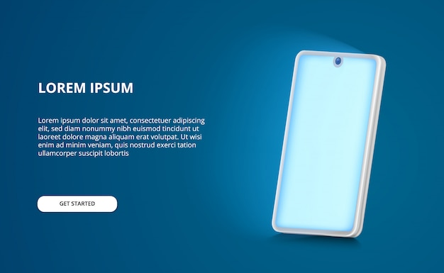 3d perspective smartphone mock up illustration with glowing blue light screen