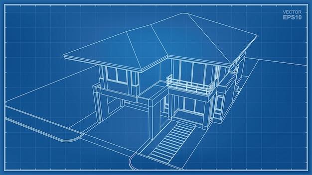 家の外観の3d透視ワイヤーフレーム。ベクトルイラスト。