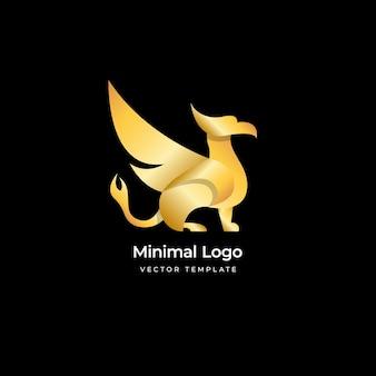 Шаблон логотипа золото птица феникс 3d векторные иллюстрации