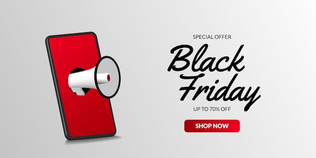 ブラックフライデーセールの3d電話とメガホンのイラストコンセプトは、eコマーステンプレートのバナーポスターを提供しています