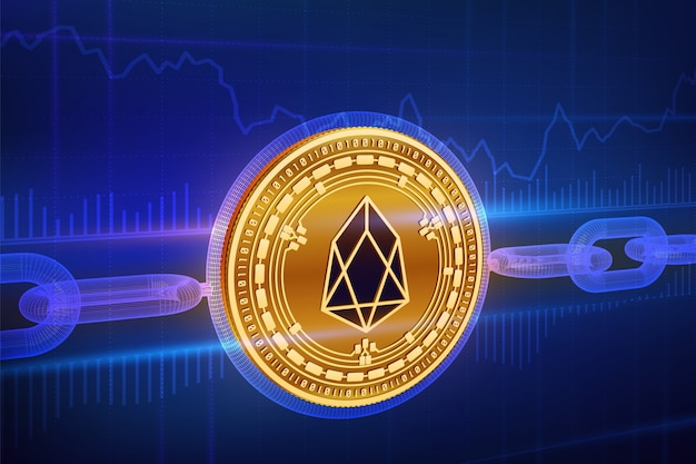 3d physical golden eos coin with wireframe chain. blockchain concept.