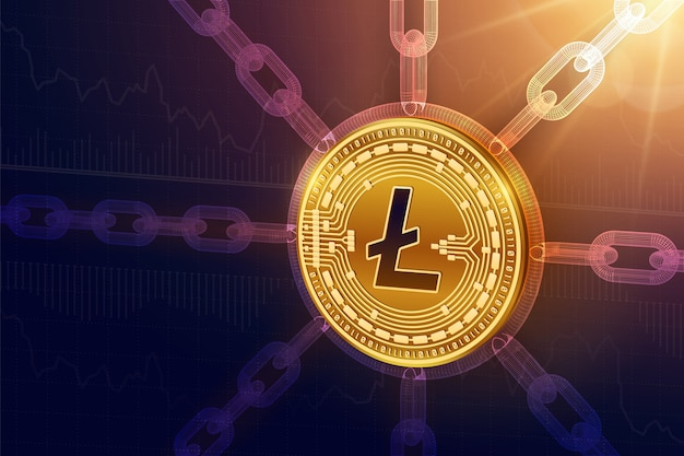 3d physical litecoin coin with wireframe chain. blockchain concept.