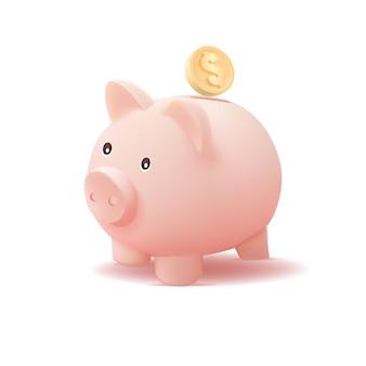 흰색 배경에 고립 된 동전 3d 돼지 저금통
