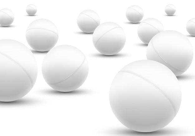 Набор шариков для пинг-понга 3d. вектор значок мяча отдела клуба пинг-понг.