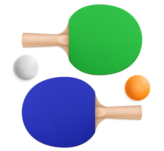 3d pingpong balls and blue and green sport paddles with wooden handles in top and bottom view