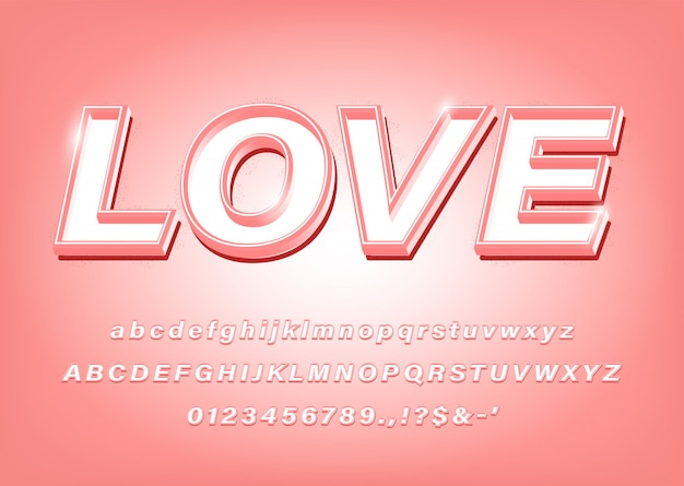 3d pink alphabet love bold font effect for title