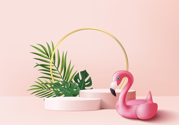 夏の背景製品の表示のための3dピンクフラミンゴレンダリング。緑の葉と幾何学的なプラットフォームを持つ表彰台のシーン