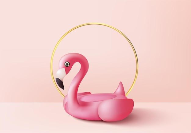 夏の背景製品の表示のための3dピンクフラミンゴレンダリング。ピンクの幾何学的なプラットフォームで表彰台のシーン