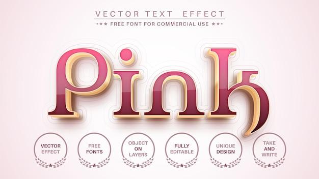 3dピンクゴールドの編集可能なテキスト効果フォントスタイル