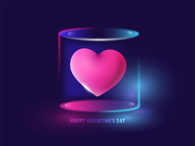 Розовое сердце 3d внутри стеклянной коробки. с днем святого валентина