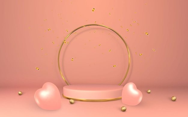 3dピンクの台座。空の部屋に表彰台を表示。シリンダー表彰台での製品のステージ。最小限のスタイル。